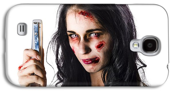 Ghastly Galaxy S4 Cases - Zombie woman with stapler Galaxy S4 Case by Ryan Jorgensen