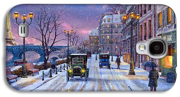 Horizontal Digital Art Galaxy S4 Cases - Winter in Paris Galaxy S4 Case by Dominic Davison