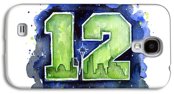 Shirt Galaxy S4 Cases - 12th Man Seahawks Art Seattle Go HAWKS Galaxy S4 Case by Olga Shvartsur