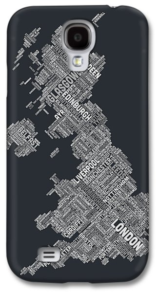 Great Britain Galaxy S4 Cases - Great Britain UK City Text Map Galaxy S4 Case by Michael Tompsett