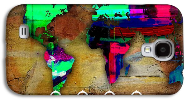 Atlas Galaxy S4 Cases - World Map Watercolor Galaxy S4 Case by Marvin Blaine