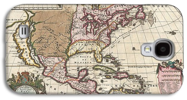 Self Discovery Galaxy S4 Cases - 1698 Louis Hennepin Map of North America Galaxy S4 Case by Paul Fearn