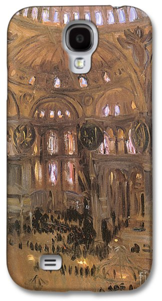 Church Pillars Paintings Galaxy S4 Cases - Victorian art piece Galaxy S4 Case by Indian Summer