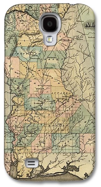 Tuscaloosa Galaxy S4 Cases - 1826 Alabama Map Galaxy S4 Case by Dan Sproul