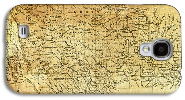 Hand Drawn Galaxy S4 Cases - 1841 REPUBLIC of TEXAS MAP Galaxy S4 Case by Daniel Hagerman