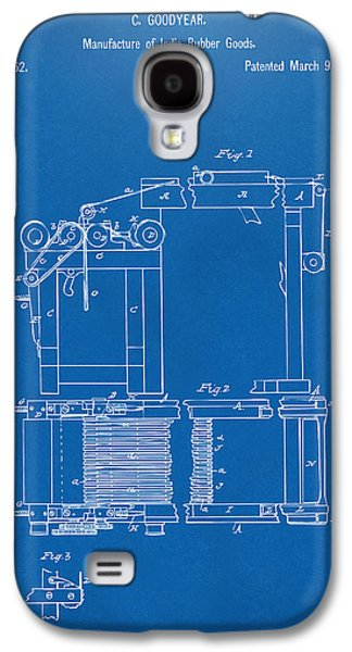 Charles Digital Art Galaxy S4 Cases - 1844 Charles Goodyear India Rubber Goods Patent Blueprint Galaxy S4 Case by Nikki Marie Smith