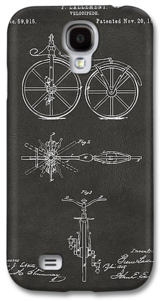 1866 Velocipede Bicycle Patent Artwork - Gray Galaxy S4 Case by Nikki Marie Smith