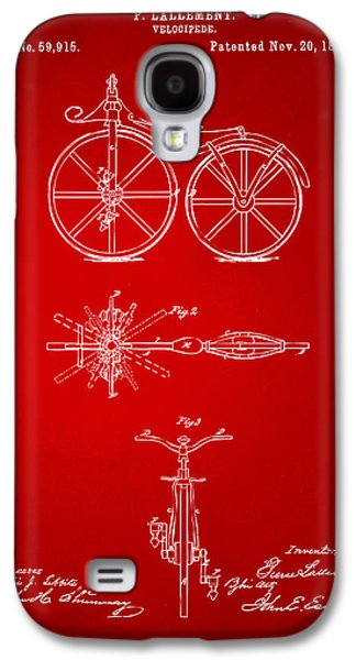 1866 Velocipede Bicycle Patent Artwork Red Galaxy S4 Case by Nikki Marie Smith