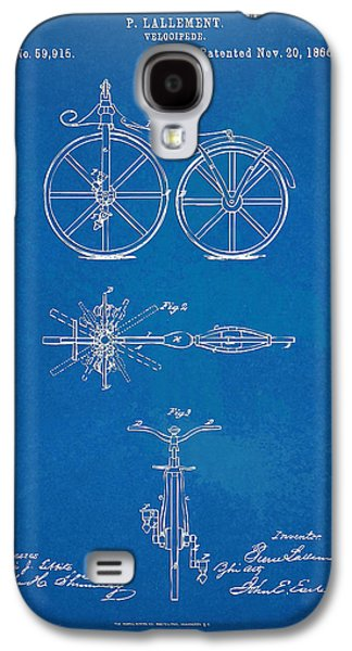 1866 Velocipede Bicycle Patent Blueprint Galaxy S4 Case by Nikki Marie Smith