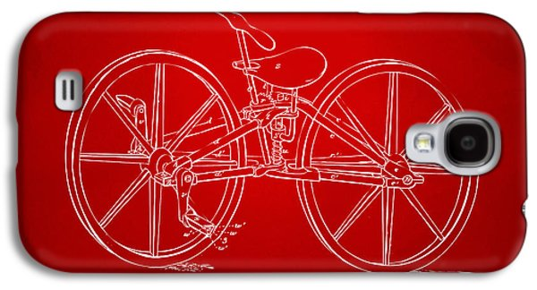 1869 Velocipede Bicycle Patent Artwork Red Galaxy S4 Case by Nikki Marie Smith