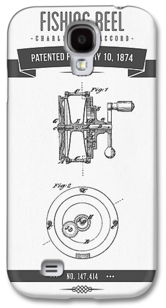 Technical Mixed Media Galaxy S4 Cases - 1874 Fishing Reel Patent Drawing Galaxy S4 Case by Aged Pixel