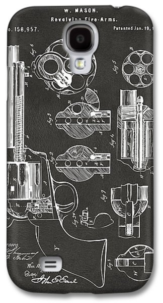 Engineer Galaxy S4 Cases - 1875 Colt Peacemaker Revolver Patent Artwork - Gray Galaxy S4 Case by Nikki Marie Smith