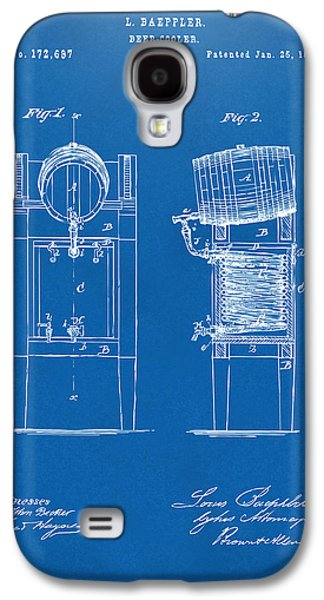 Breweries Galaxy S4 Cases - 1876 Beer Keg Cooler Patent Artwork Blueprint Galaxy S4 Case by Nikki Marie Smith