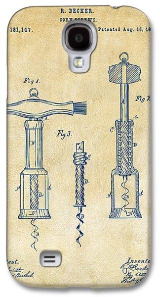 Red Wine Galaxy S4 Cases - 1876 Wine Corkscrews Patent Artwork - Vintage Galaxy S4 Case by Nikki Marie Smith