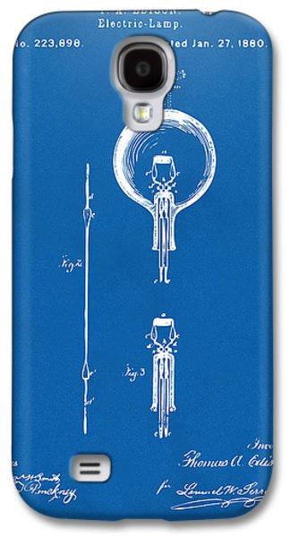 Edison Galaxy S4 Cases - 1880 Edison Electric Lamp Patent Artwork Blueprint Galaxy S4 Case by Nikki Marie Smith