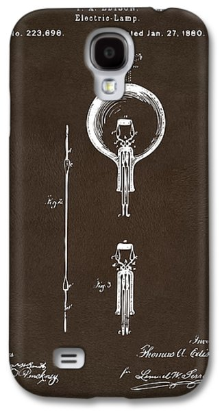 Light Bulb Galaxy S4 Cases - 1880 Edison Electric Lamp Patent Artwork Espresso Galaxy S4 Case by Nikki Marie Smith
