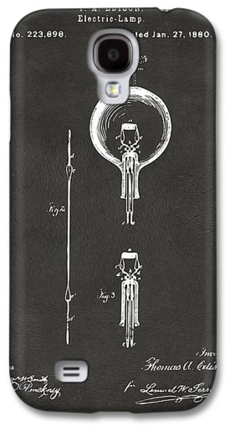 Edison Galaxy S4 Cases - 1880 Edison Electric Lamp Patent Artwork - Gray Galaxy S4 Case by Nikki Marie Smith
