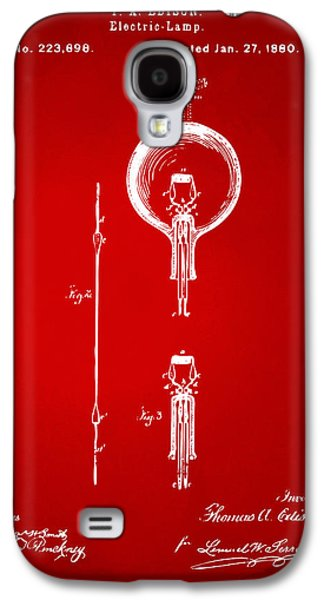 Edison Galaxy S4 Cases - 1880 Edison Electric Lamp Patent Artwork Red Galaxy S4 Case by Nikki Marie Smith