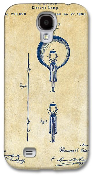 Edison Galaxy S4 Cases - 1880 Edison Electric Lamp Patent Artwork Vintage Galaxy S4 Case by Nikki Marie Smith