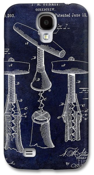 Napa Valley Vineyard Galaxy S4 Cases - 1883 Corkscrew Patent drawing Galaxy S4 Case by Jon Neidert