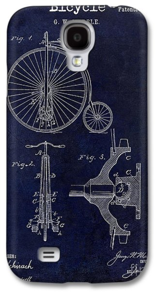 Bicycle Photographs Galaxy S4 Cases - 1885 Bicycle Patent Drawing Blue Galaxy S4 Case by Jon Neidert
