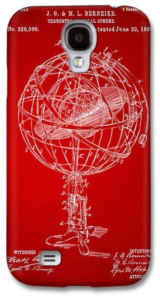 1885 Terrestro Sidereal Sphere Patent Artwork - Red Galaxy S4 Case by Nikki Marie Smith