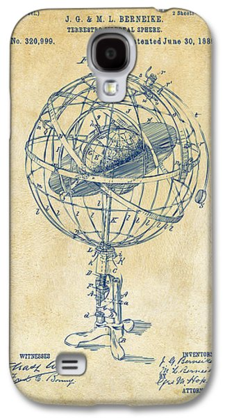 1885 Terrestro Sidereal Sphere Patent Artwork - Vintage Galaxy S4 Case by Nikki Marie Smith