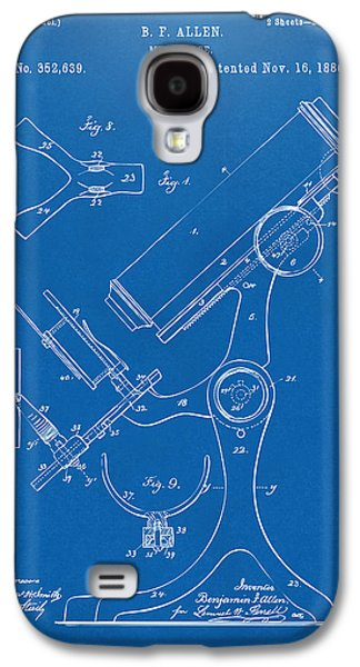Lab Digital Art Galaxy S4 Cases - 1886 Microscope Patent Artwork - Blueprint Galaxy S4 Case by Nikki Marie Smith