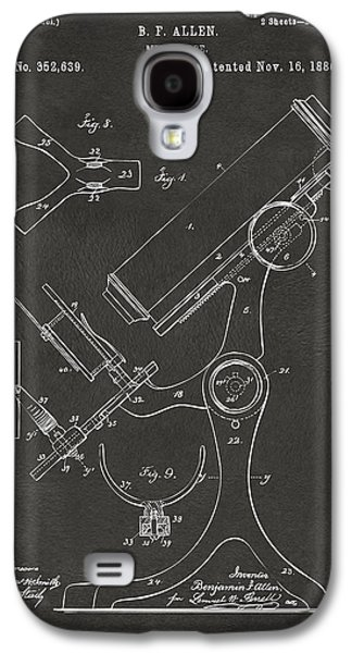 Lab Digital Art Galaxy S4 Cases - 1886 Microscope Patent Artwork - Gray Galaxy S4 Case by Nikki Marie Smith