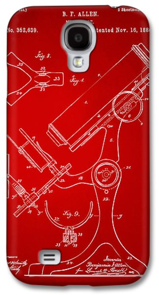 Lab Digital Art Galaxy S4 Cases - 1886 Microscope Patent Artwork - Red Galaxy S4 Case by Nikki Marie Smith