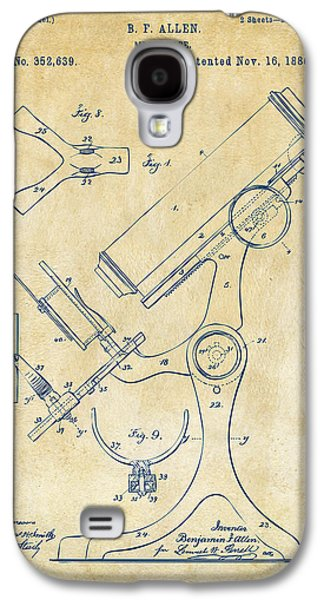 Labs Digital Galaxy S4 Cases - 1886 Microscope Patent Artwork - Vintage Galaxy S4 Case by Nikki Marie Smith