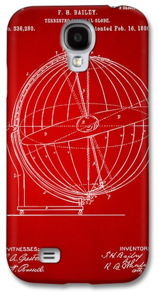 1886 Terrestro Sidereal Globe Patent 2 Artwork - Red Galaxy S4 Case by Nikki Marie Smith
