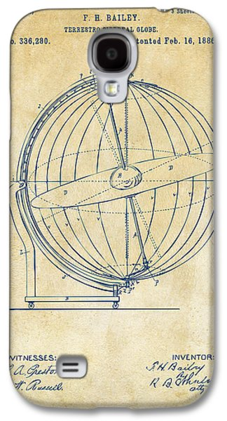 1886 Terrestro Sidereal Globe Patent 2 Artwork - Vintage Galaxy S4 Case by Nikki Marie Smith