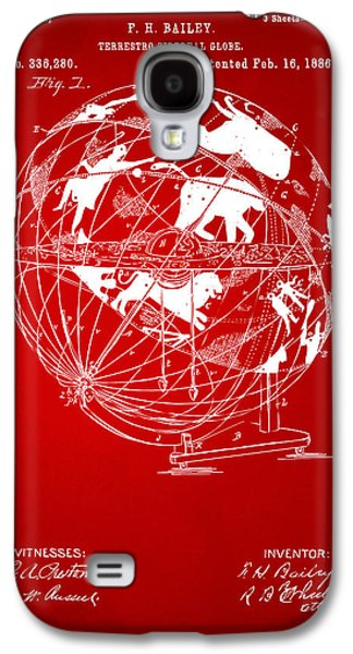 1886 Terrestro Sidereal Globe Patent Artwork - Red Galaxy S4 Case by Nikki Marie Smith
