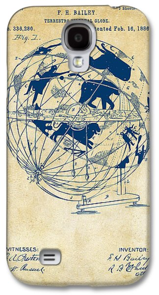 1886 Terrestro Sidereal Globe Patent Artwork - Vintage Galaxy S4 Case by Nikki Marie Smith