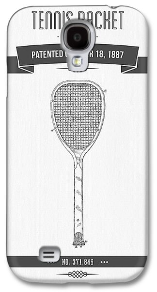 Technical Mixed Media Galaxy S4 Cases - 1887 Tennis Racket Patent Drawing - Retro Gray Galaxy S4 Case by Aged Pixel
