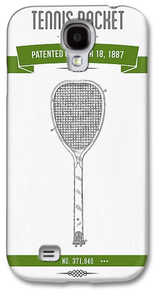 Technical Mixed Media Galaxy S4 Cases - 1887 Tennis Racket Patent Drawing - Retro Green Galaxy S4 Case by Aged Pixel