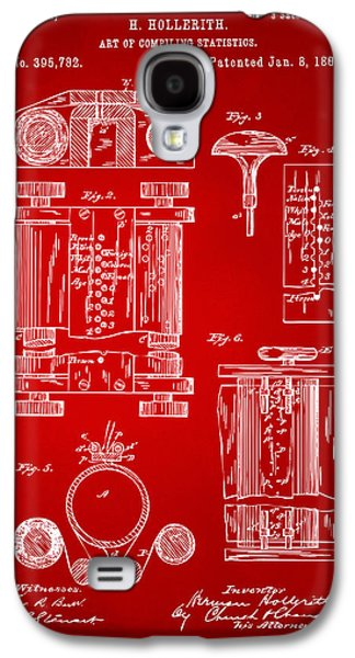 Punch Digital Art Galaxy S4 Cases - 1889 First Computer Patent Red Galaxy S4 Case by Nikki Marie Smith