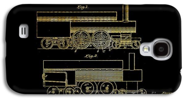 Historic Home Drawings Galaxy S4 Cases - 1890 Baird Locomotive Engine Patent Art 1 Galaxy S4 Case by Nishanth Gopinathan