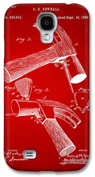 Hammer Galaxy S4 Cases - 1890 Hammer Patent Artwork - Red Galaxy S4 Case by Nikki Marie Smith