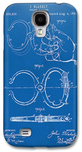 Law Enforcement Galaxy S4 Cases - 1891 Police Nippers Handcuffs Patent Artwork - Blueprint Galaxy S4 Case by Nikki Marie Smith