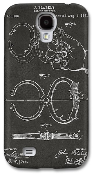 Law Enforcement Galaxy S4 Cases - 1891 Police Nippers Handcuffs Patent Artwork - Gray Galaxy S4 Case by Nikki Marie Smith