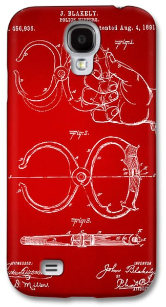 Law Enforcement Galaxy S4 Cases - 1891 Police Nippers Handcuffs Patent Artwork - Red Galaxy S4 Case by Nikki Marie Smith