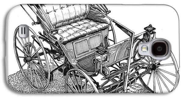First Lady Drawings Galaxy S4 Cases - 1893 Duryea Motorwagon Galaxy S4 Case by Jack Pumphrey