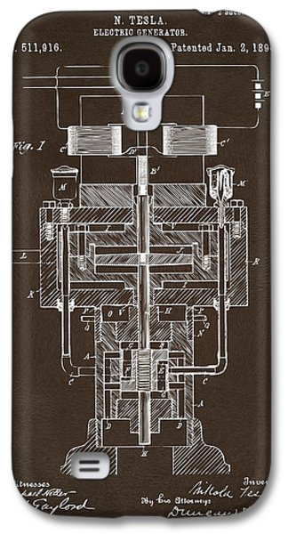 1894 Tesla Electric Generator Patent Espresso Galaxy S4 Case by Nikki Marie Smith
