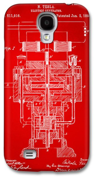 Generators Galaxy S4 Cases - 1894 Tesla Electric Generator Patent Red Galaxy S4 Case by Nikki Marie Smith