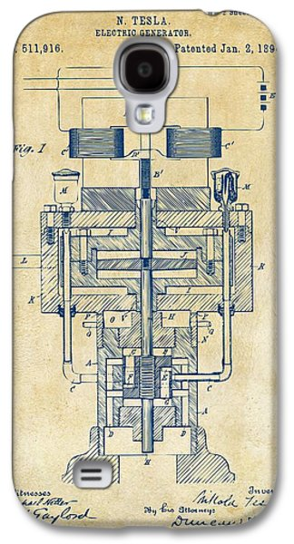 1894 Tesla Electric Generator Patent Vintage Galaxy S4 Case by Nikki Marie Smith