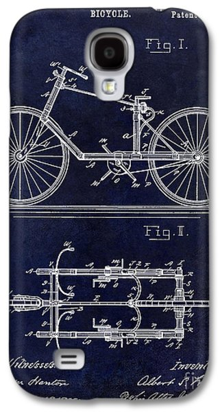 Bicycle Photographs Galaxy S4 Cases - 1895 Bicycle Patent Drawing Blue Galaxy S4 Case by Jon Neidert
