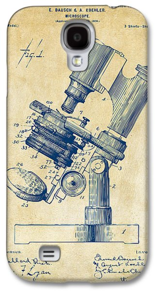 Microscope Galaxy S4 Cases - 1899 Microscope Patent Vintage Galaxy S4 Case by Nikki Marie Smith