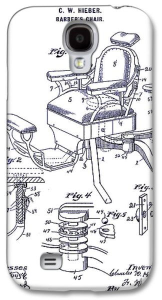 Chair Drawings Galaxy S4 Cases - 1901 Barber Chair Patent Blueprint Galaxy S4 Case by Jon Neidert